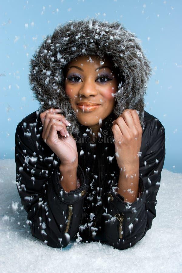 雪冬天妇女 库存照片