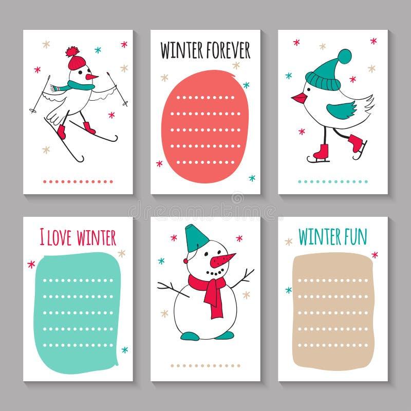 滑雪冬天的乐趣滑冰和 皇族释放例证