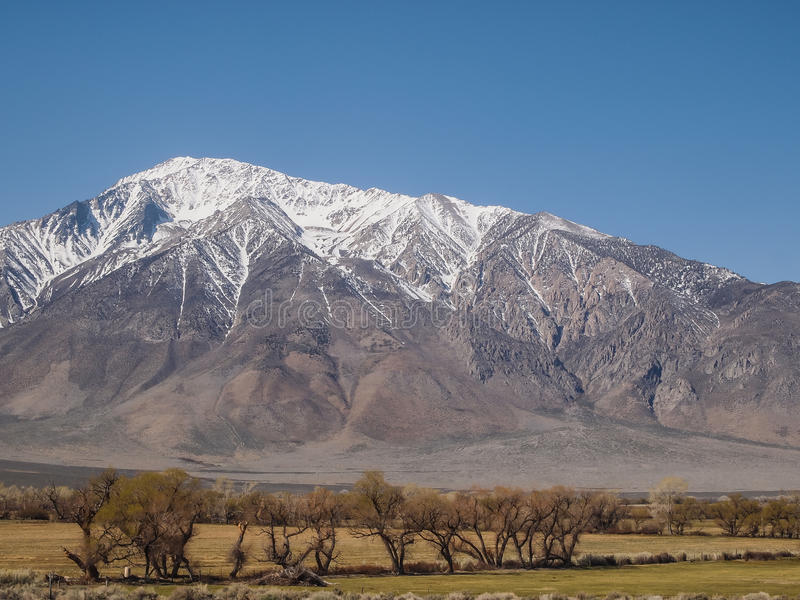 雪加盖了山,蓝天,沙漠风景 图库摄影