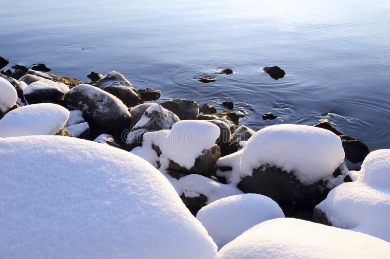 雪向水扔石头 库存图片