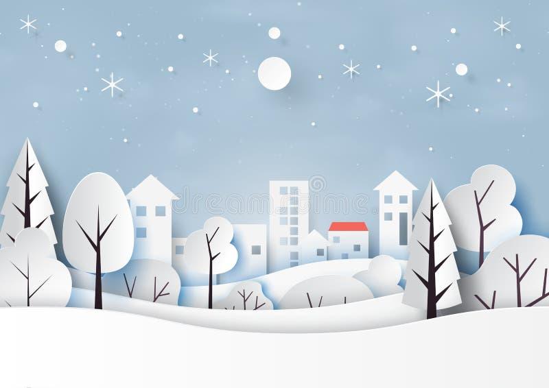 雪和冬天季节与自然风景和乡下圣诞快乐和新年快乐纸艺术样式的 向量 皇族释放例证