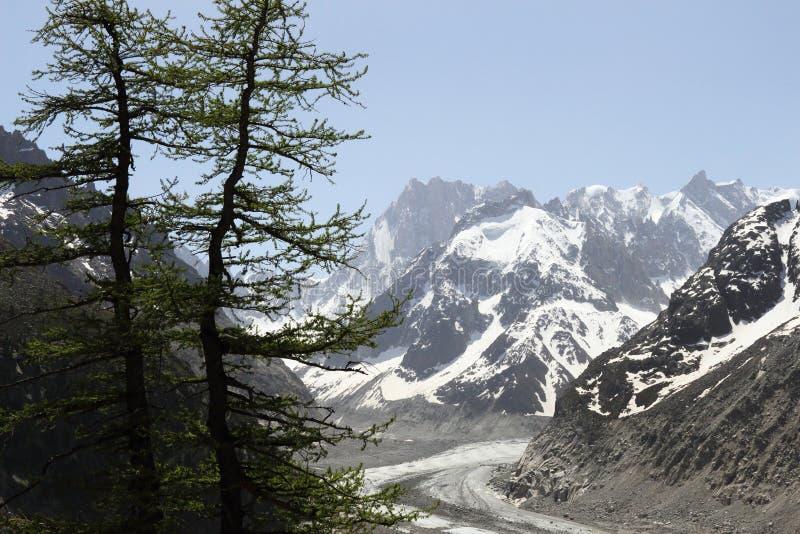 雪和冰川覆盖的勃朗峰断层块在法国 库存图片