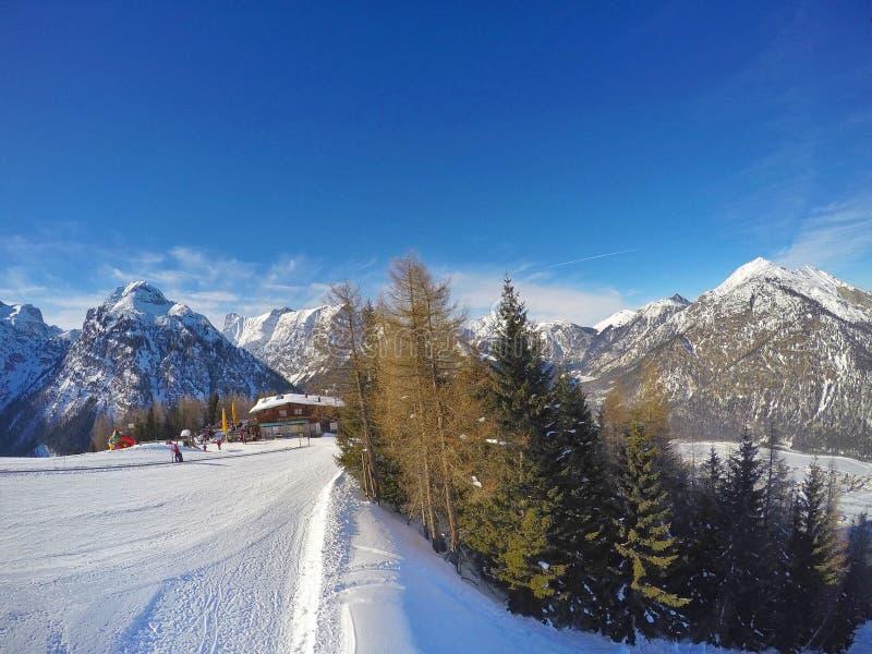 滑雪在上面Pertisau倾斜在阿尔卑斯在蒂罗尔,奥地利 库存图片