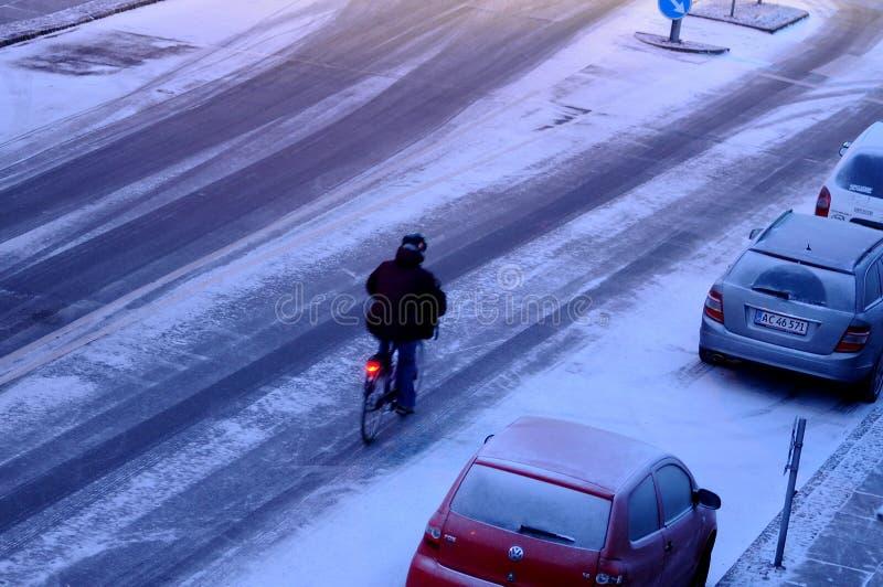 雪在丹麦落 免版税库存照片