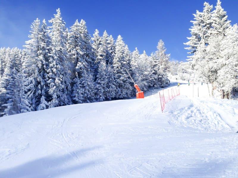 滑雪在列斯Houches冬天手段山,法国阿尔卑斯倾斜 免版税库存图片