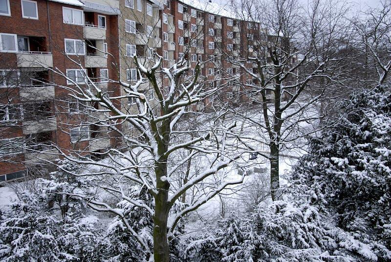 雪在卡斯特鲁普落 免版税库存照片