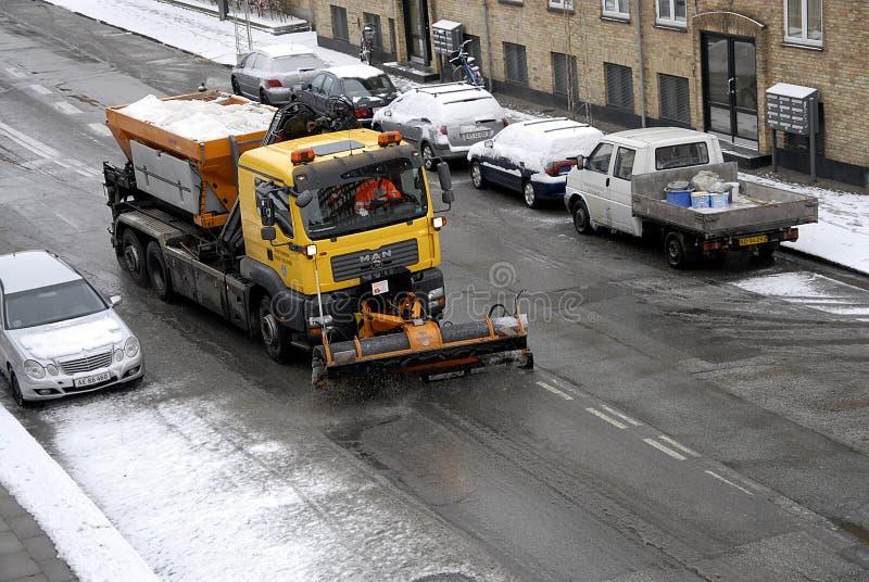 雪在卡斯特鲁普落 免版税库存图片