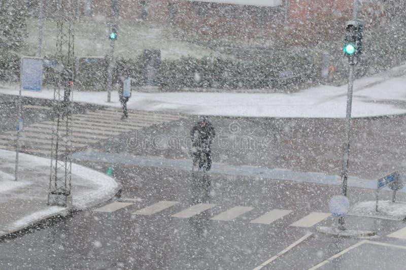 雪在哥本哈根 库存照片