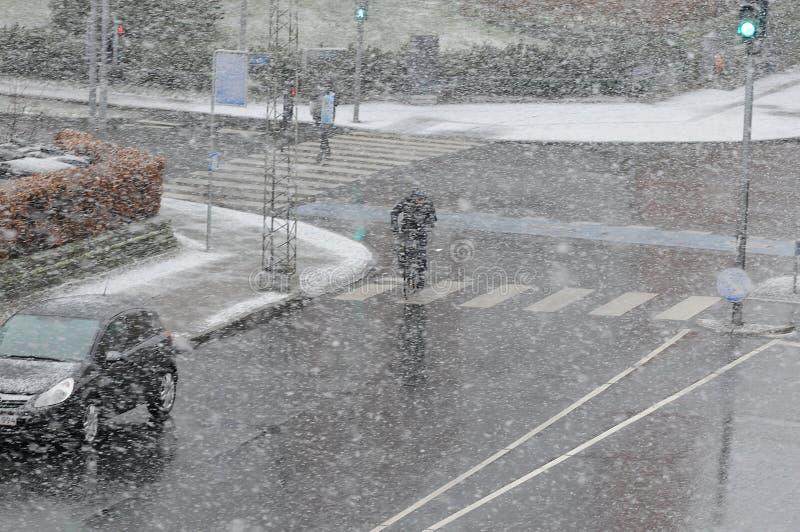 雪在哥本哈根 库存图片