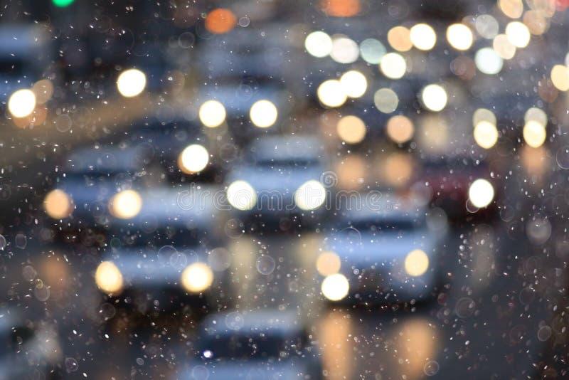 雪在城市 皇族释放例证