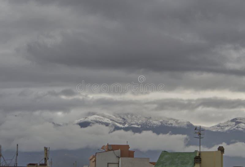 雪在特内里费岛,加那利群岛,西班牙 库存图片