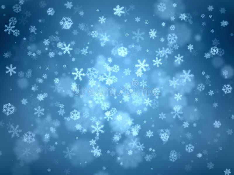 雪在蓝色梯度背景剥落从中心的各种各样的大和小型漩涡向外 免版税库存照片