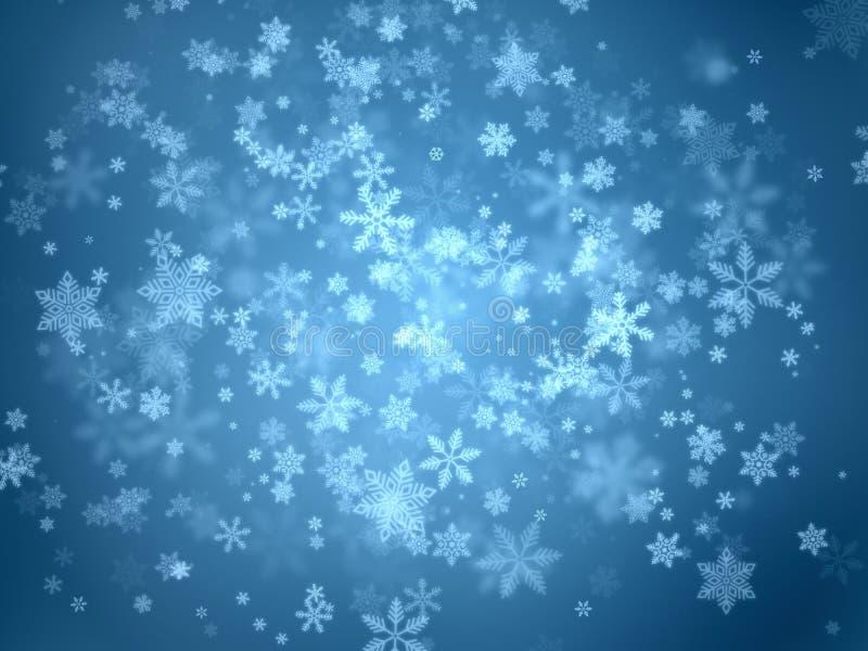 雪在蓝色梯度背景剥落从中心的各种各样的大和小型漩涡向外 免版税图库摄影