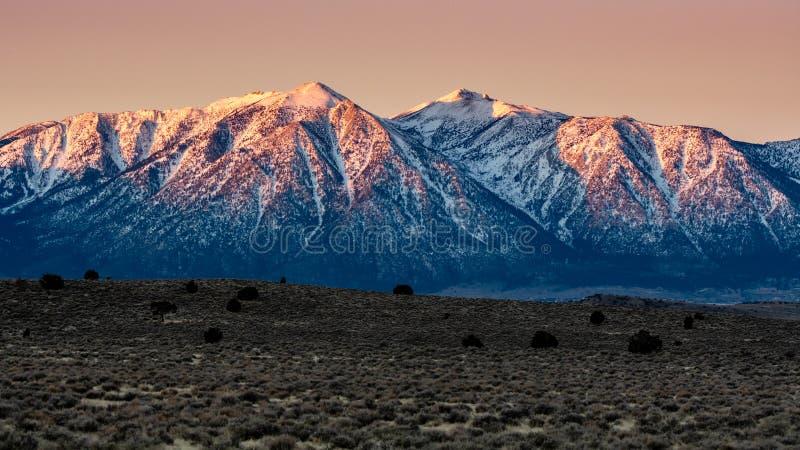 雪在高沙漠加盖了山 库存图片