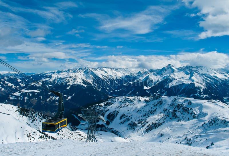 滑雪在Mayrhofen奥地利 库存照片