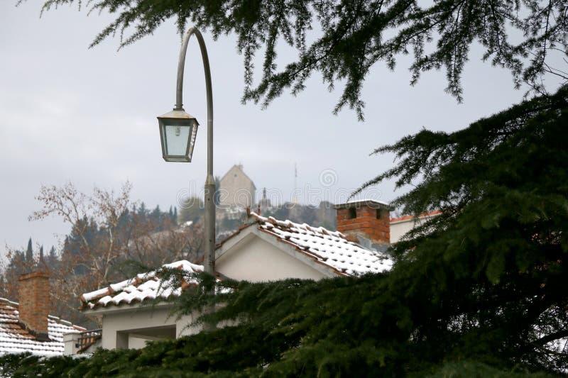 雪在Sinj,克罗地亚 库存照片