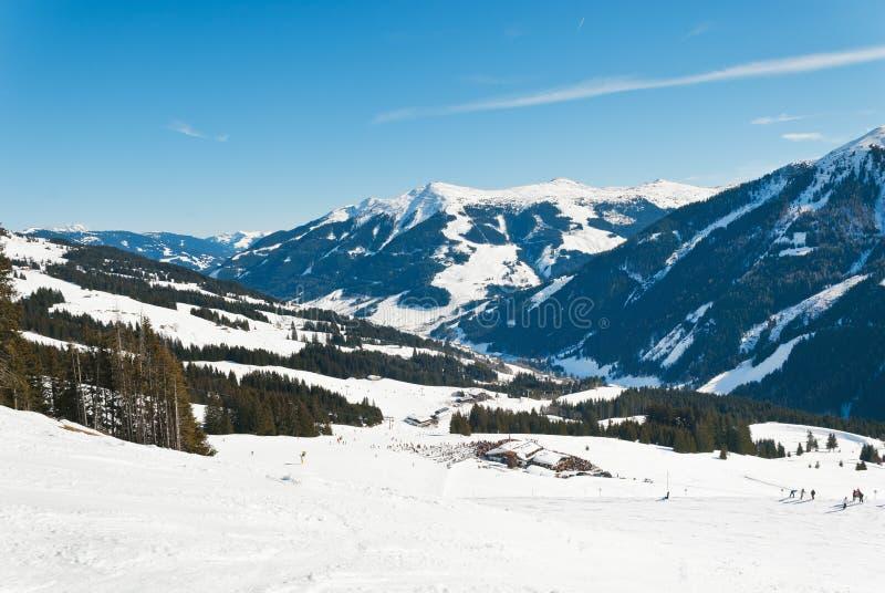 滑雪地区在萨尔巴赫Hinterglemm地区,奥地利 免版税库存照片