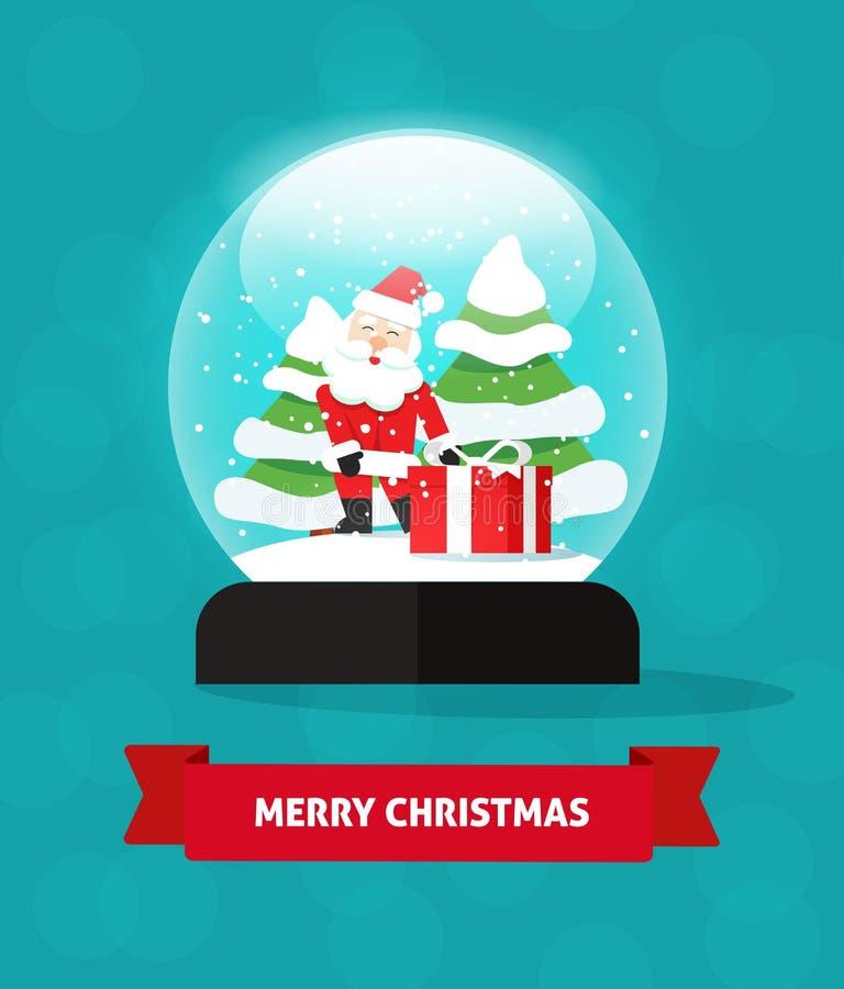雪地球圣诞老人礼物,新年树,圣诞快乐 皇族释放例证