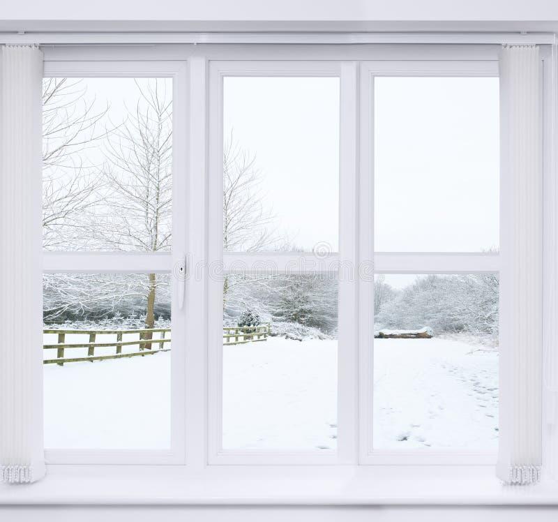 雪场面窗口 免版税库存图片