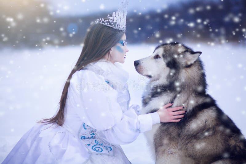雪女王/王后在冬天 有爱斯基摩狗的童话女孩 免版税库存照片