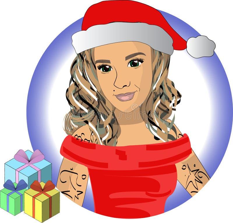 雪少女在有礼物传染媒介的EPS10红色帽子 向量例证