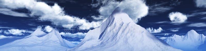 雪峰顶 山风景的全景 向量例证