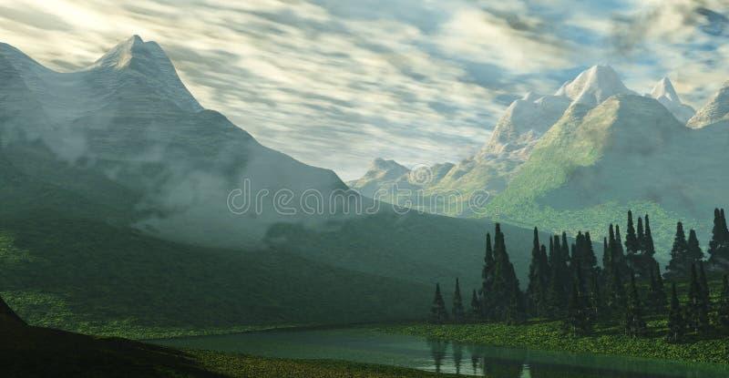 雪峰顶 山风景的全景 免版税库存照片