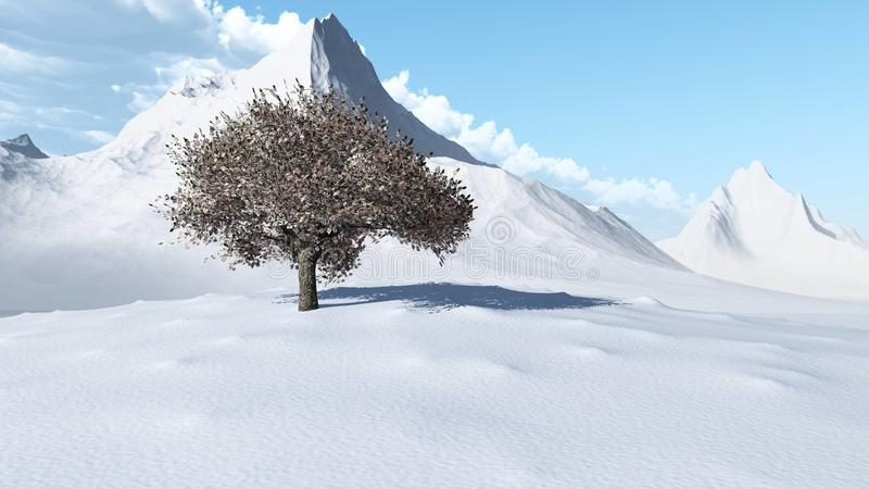 雪峰顶 山风景的全景 皇族释放例证