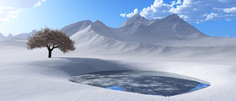 雪峰顶 山风景的全景 库存例证