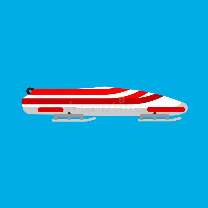 雪撬体育传染媒介象冬天比赛种族 速度雪爬犁轨道侧视图平的设备 下坡极端红色骨骼 库存例证