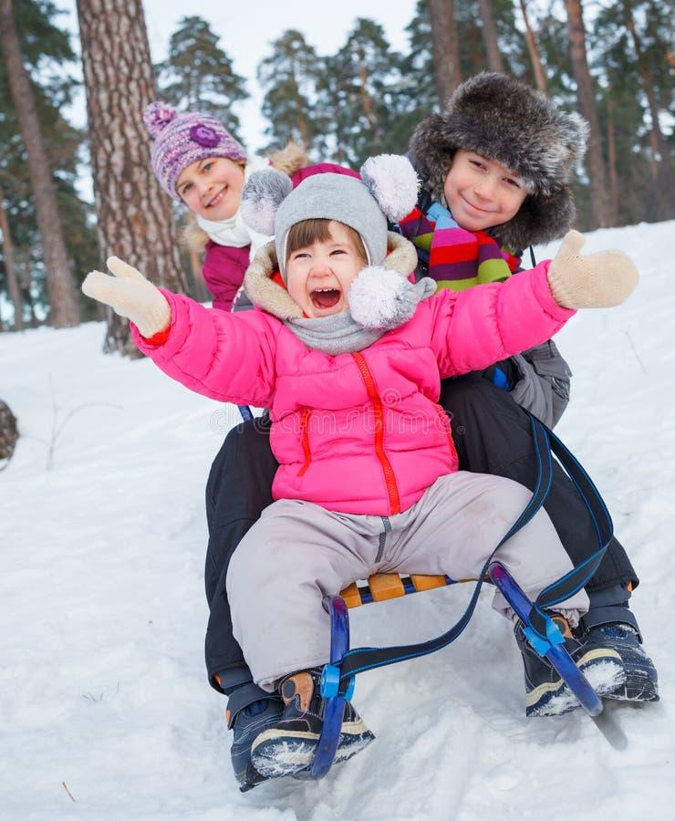 雪撬的子项在雪 免版税库存照片