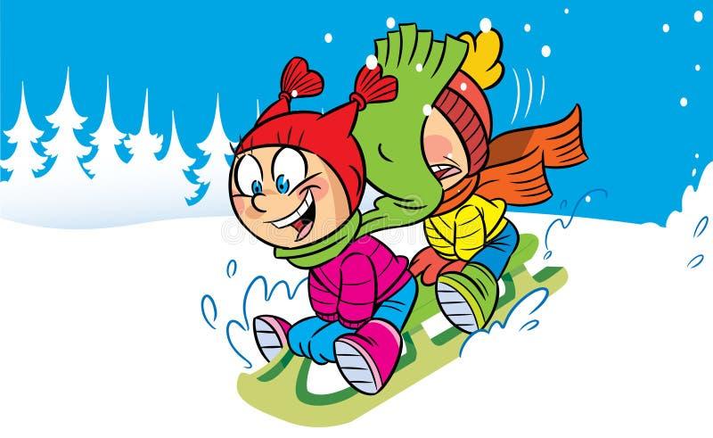 雪撬 向量例证