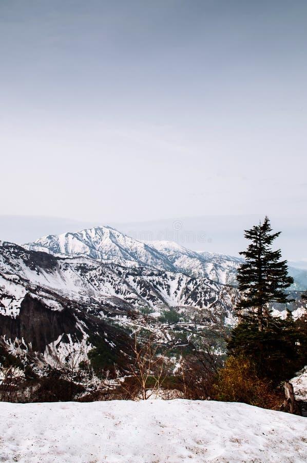 雪日本在馆山Kurobe高山路线-日本的阿尔卑斯山 库存照片