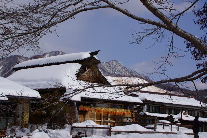 雪日本村庄 免版税库存照片