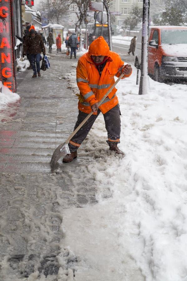 雪是伊斯坦布尔 免版税库存照片