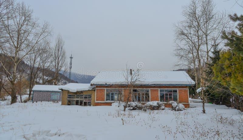 雪村庄在漠河县,中国 免版税库存图片