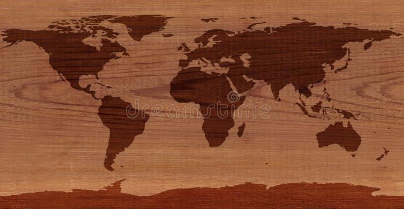雪松木世界地图 图库摄影