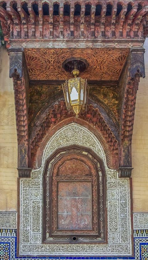 雪松木头被雕刻的摩洛哥凹室 免版税库存图片