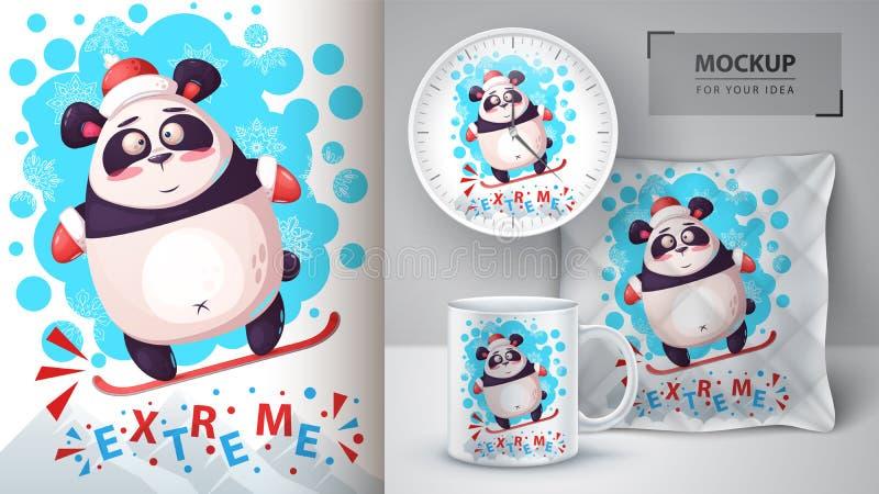 雪板熊猫-您的想法的大模型 向量例证