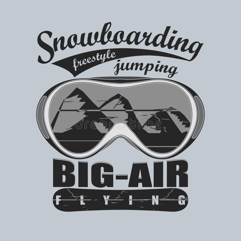 雪板运动冬季体育象征, T恤杉-传染媒介 向量例证