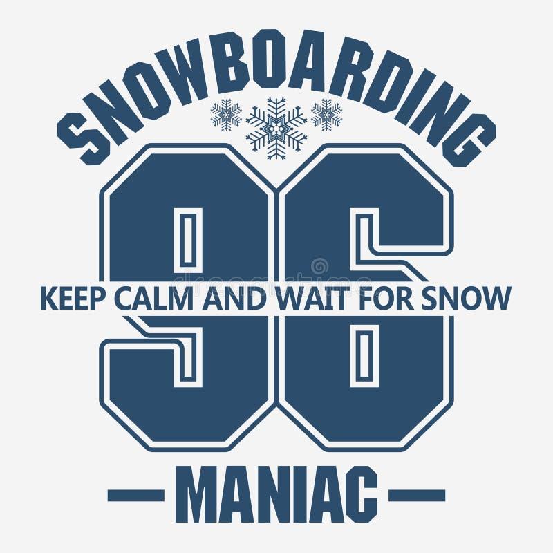 雪板运动冬季体育象征,T恤杉时尚图表,传染媒介 库存例证