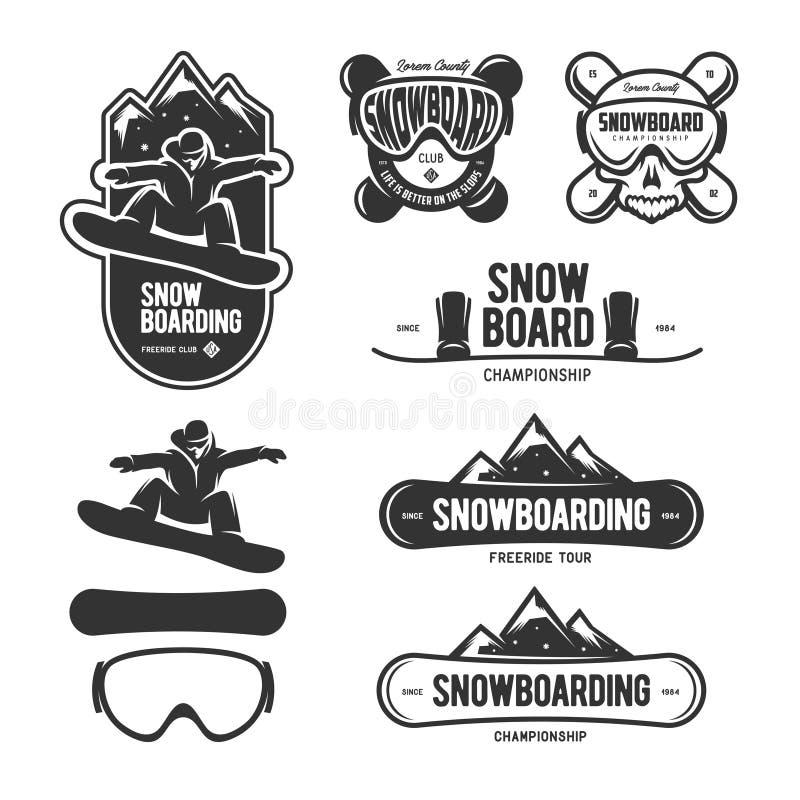 雪板运动标号组 冬季体育象征 传染媒介葡萄酒例证 向量例证
