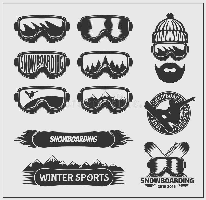 雪板运动标签、象征、徽章和设计元素的汇集 皇族释放例证