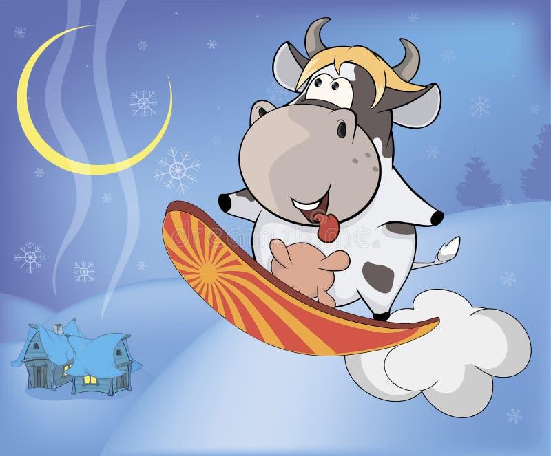 雪板运动母牛动画片 库存例证