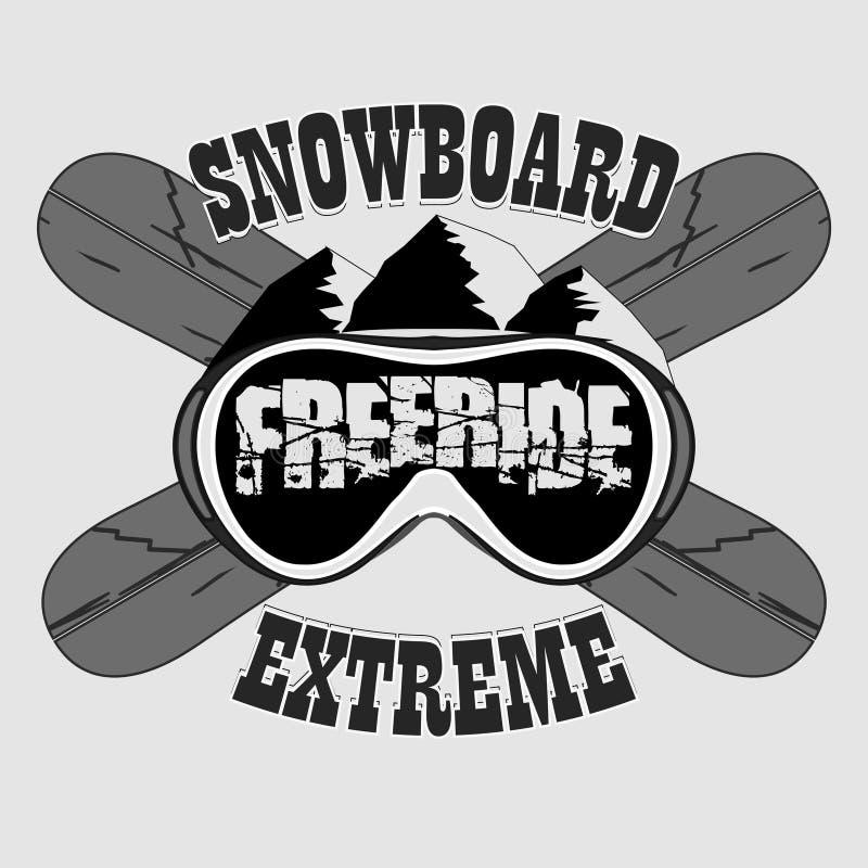 雪板运动T恤杉,冬季体育象征,传染媒介 库存例证