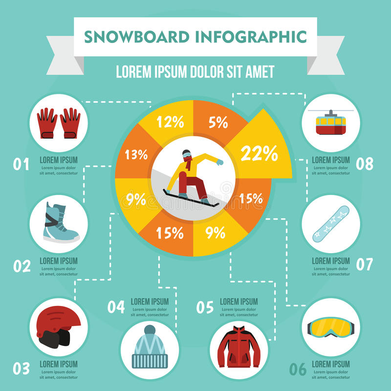 雪板infographic概念,平的样式 皇族释放例证