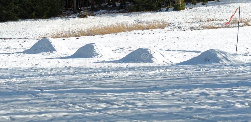 雪样式冬天视图在侧灯的 库存图片