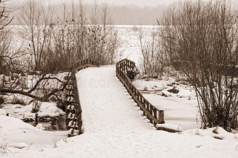 雪桥梁 免版税库存图片