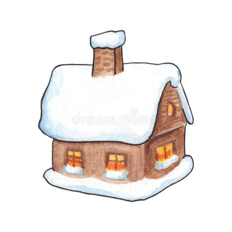 雪水彩例证的土气木屋 有雪屋顶和管子的村庄房子 向量例证