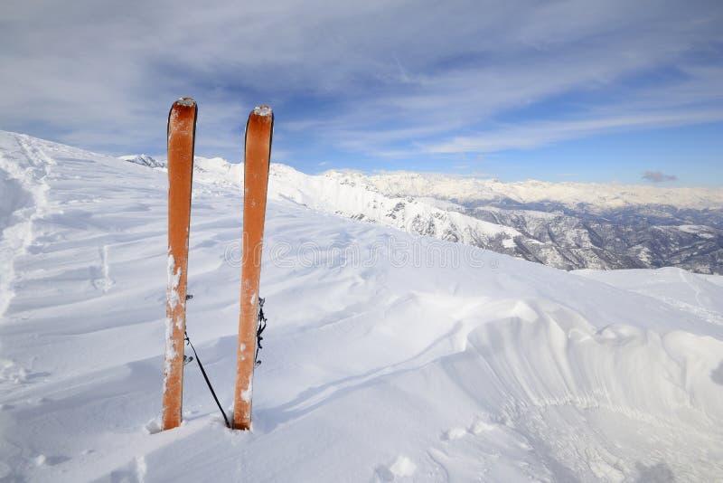 滑雪游览设备 免版税库存照片